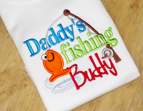 Daddy's Fishing Buddy, Cute Saying, Fishing Embroidery TShirt for BOYS