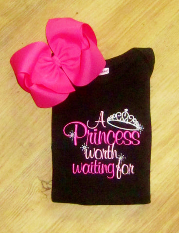A Princess worth waiting for, Cute Saying Embroidery for Girls