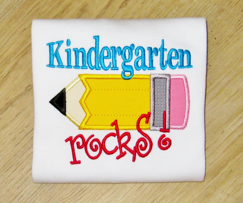 Kindergarten Rocks, Boys-Pencil Applique, Back to School TShirt