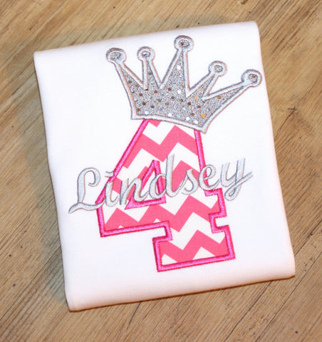 Chevron Birthday Number w/ Crown, Princess Birthday for Girls
