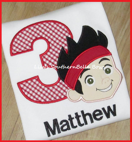 Birthday Shirt, Jake and the Neverland Pirates, Applique Number