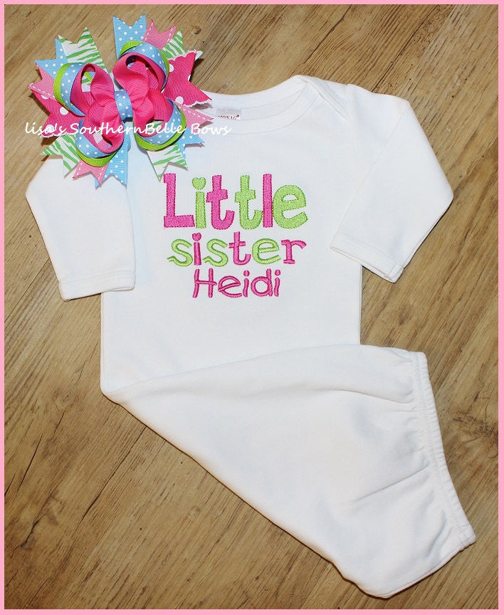 Little Sister, Layette Gown, Personalized Infant Gown, Sibling Set, Sibling Shirt