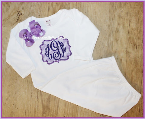 Cheveron Mongoram, Baby Girls, Layette Gown, Infant Sleeper Gown, 3 Letter Monogram, Personalized Layette Gown, New Baby