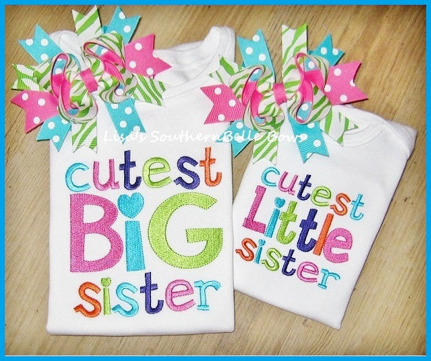 Cutest Big Sister, Cutest Little Sister, New Baby Sibling Shirts