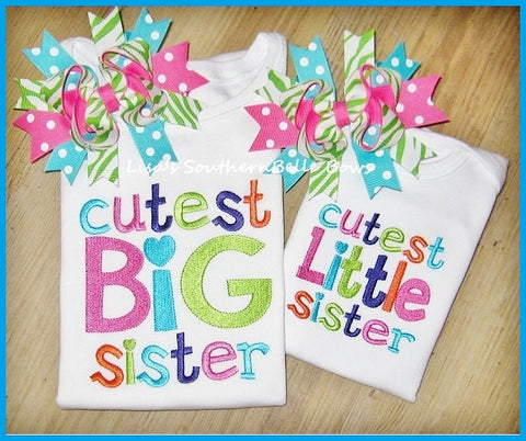 Cutest Big Sister, Cutest Little Sister, Embroidery Sibling Shirts
