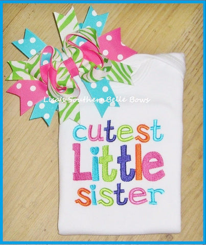 Cutest Little Sister, Little Sister Sibling Shirt, Embroidery Shirt