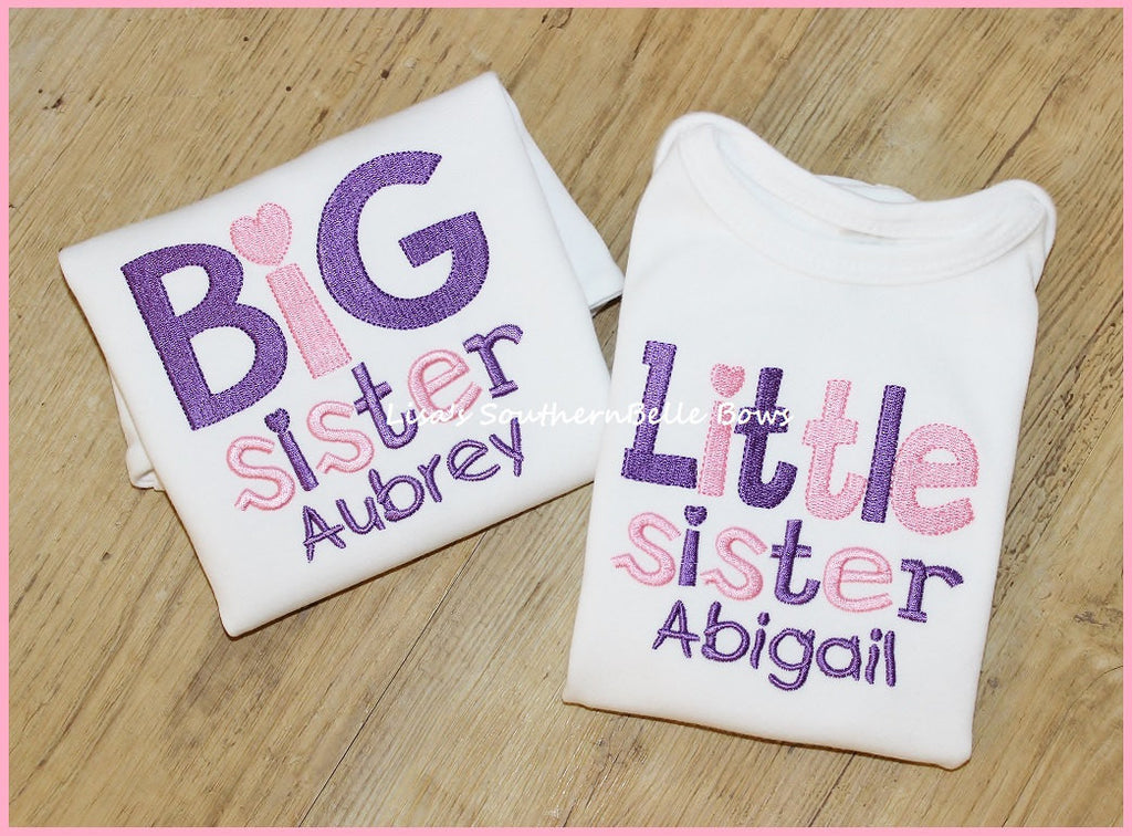 Big Sister, Little Sister, Personalized Sibling Shirts, New Baby Announcement