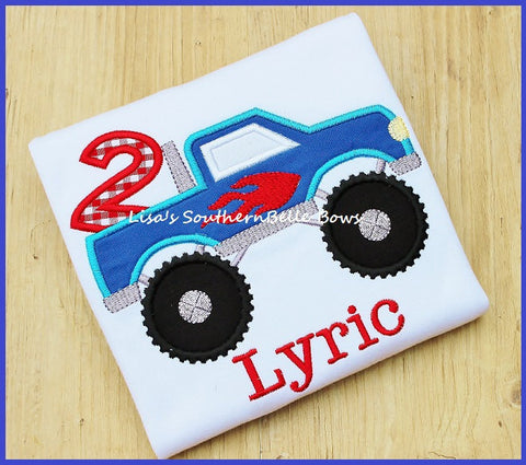 Monster Truck Birthday Shirt, Monster Truck Applique, Personalized Birthday Shirt for Boys