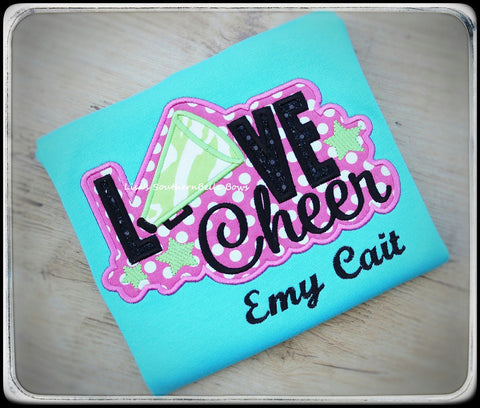 Cheer, I love Cheerleading, Love Cheer, cute saying, cheer applique design for girls