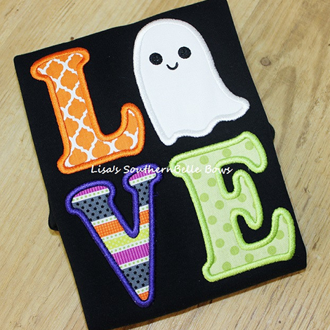 LOVE Ghost Halloween Applique Shirt for Girls