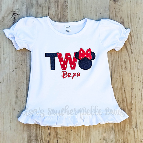 Minnie Mouse- TWO Second Birthday Shirt for Girls