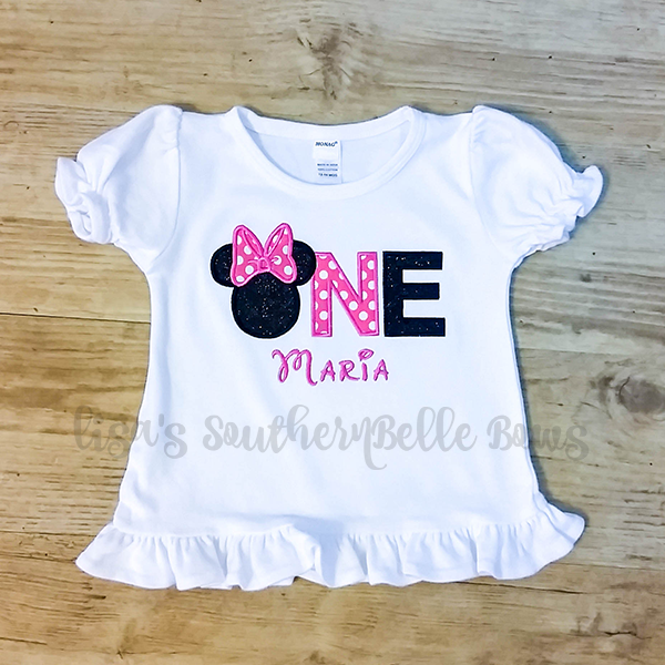 Minnie Mouse ONE, First Birthday Shirt for Girls