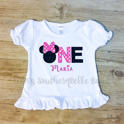 Minnie Mouse ONE, First Birthday Minnie Mouse Shirt for Girls