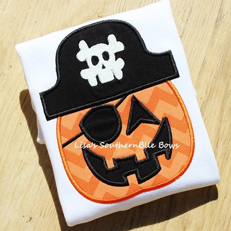 Glow in the Dark Pirate Pumpkin, Halloween Shirt