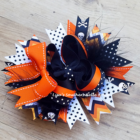 Skull and Crossbones OTT Halloween Hair Bow- NEW ITEM