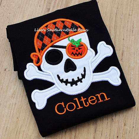 Skull and Crossbones, Halloween Shirt, Pirate Pumpkin Skull