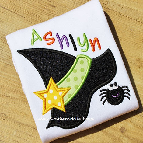 Halloween Witch Hat with Hanging Spider, Halloween Shirt for Girls