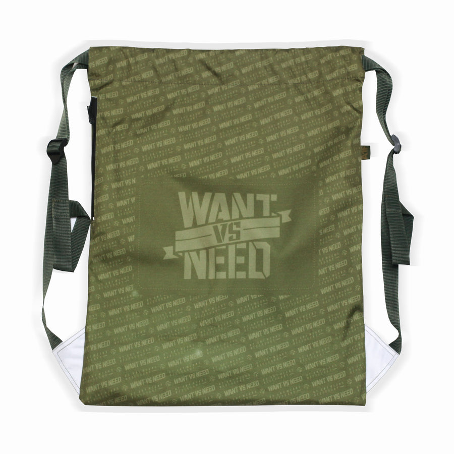 WANT VS NEED KIMONO SERIES 13 CANVAS - OLIVE