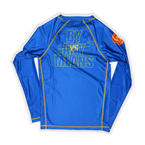 ADULT WANT VS NEED BY ANY MEANS RASHGUARD - BLUE
