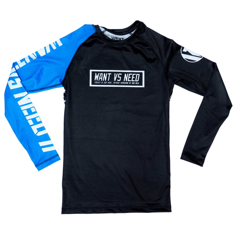 WANT VS NEED RASHGUARD - BLUE