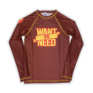 KIDS WANT VS NEED RASHGUARD - BROWN