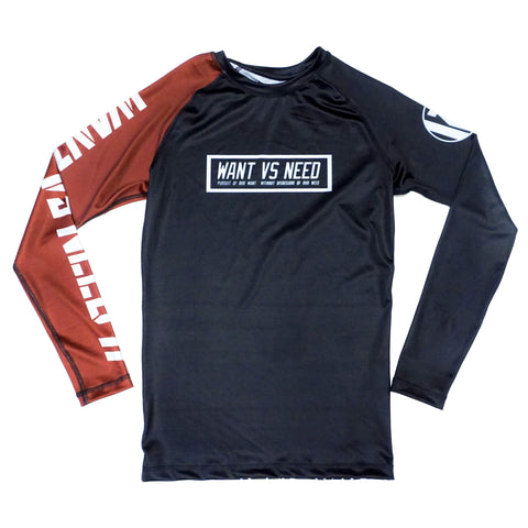 WANT VS NEED RASHGUARD - BROWN