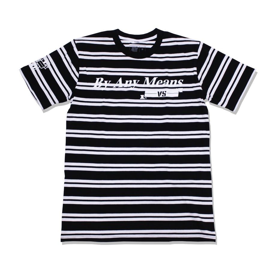 BY ANY MEANS TEE - STRIPE BLACK/WHTE