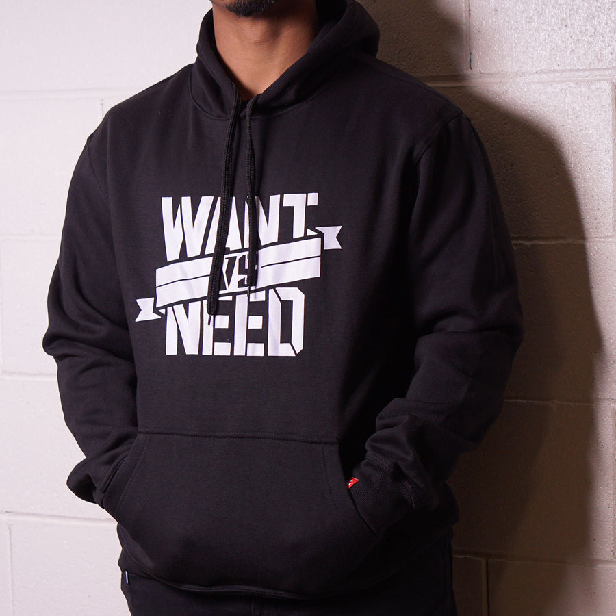 WANT VS NEED RIBBON LOGO PULLOVER HOODIE - BLACK