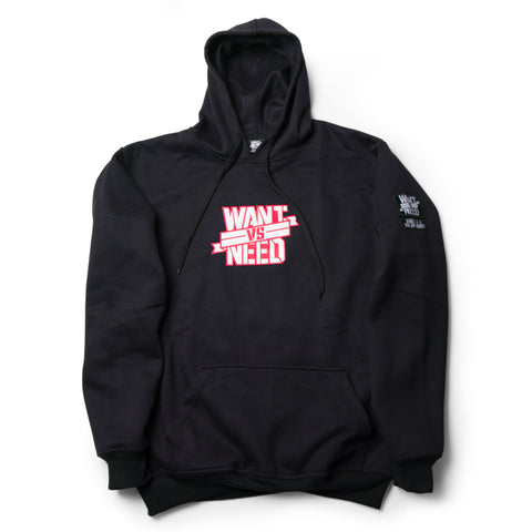 WANT VS NEED EMBROIDERY PULLOVER HOODIE - BLACK