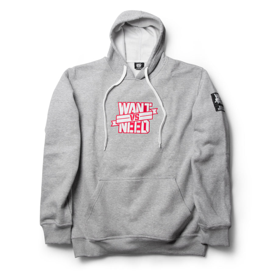 WANT VS NEED EMBROIDERY PULLOVER HOODIE - GRAY