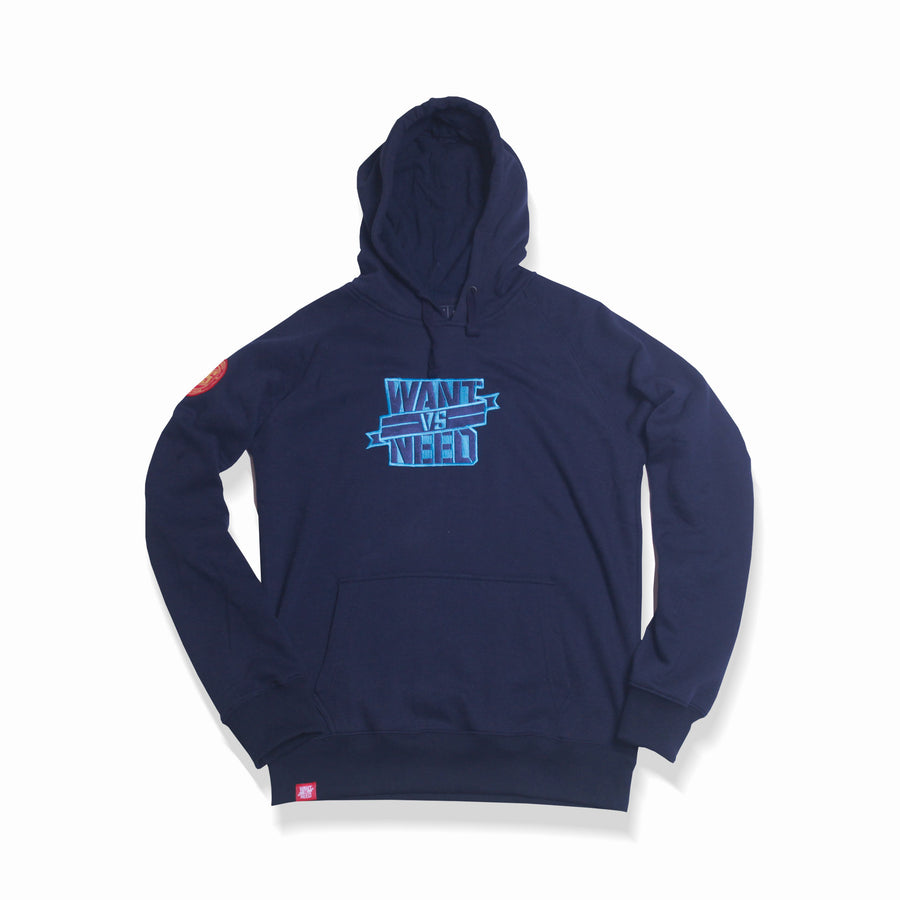 WANT VS NEED EMBROIDERY HOODIE - NAVY