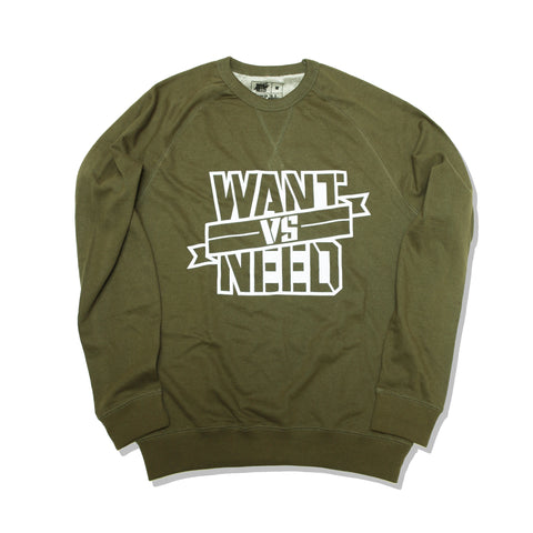 WANT VS NEED RIBBON FRENCH TERRY CREWNECK - OLIVE