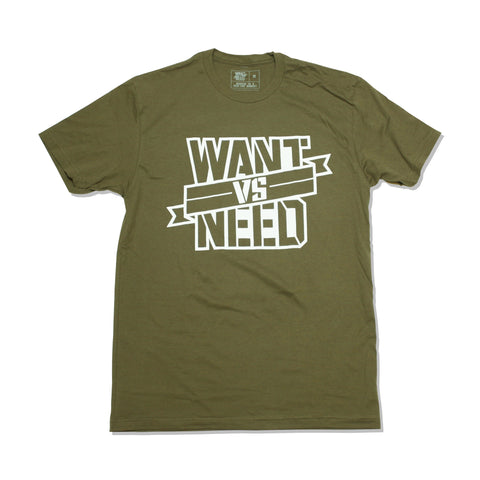 WANT VS NEED RIBBON TEE - OLIVE