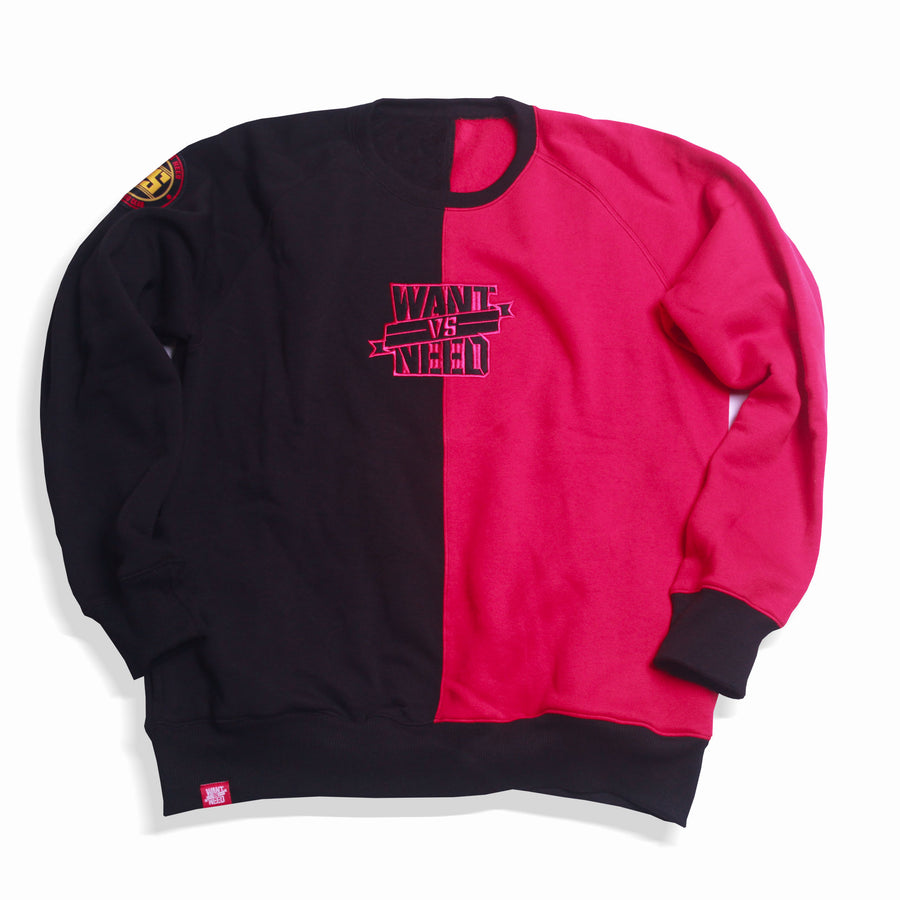 WANT VS NEED - SPLIT CREWNECK (BLACK/RED)