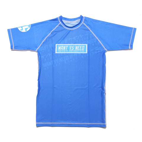 WANT VS NEED RASHGUARD SHORT SLEEVE - BLUE