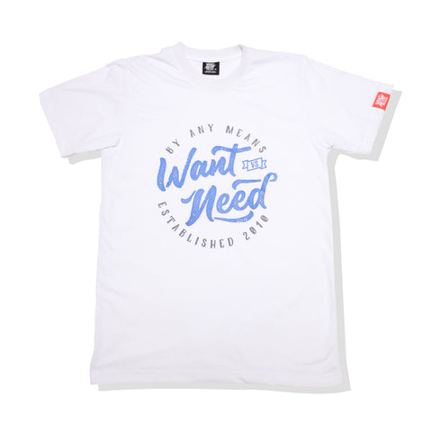 WANT VS NEED VINTAGE ESTABLISH TEE - WHITE