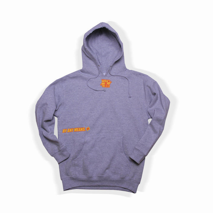 WANT VS NEED x BY ANY MEANS LOGO PULLOVER HOODIE - HEATHER GREY