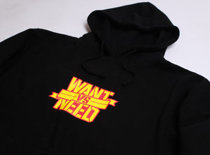 WANT VS NEED LOGO PULLOVER HOODIE - BLACK