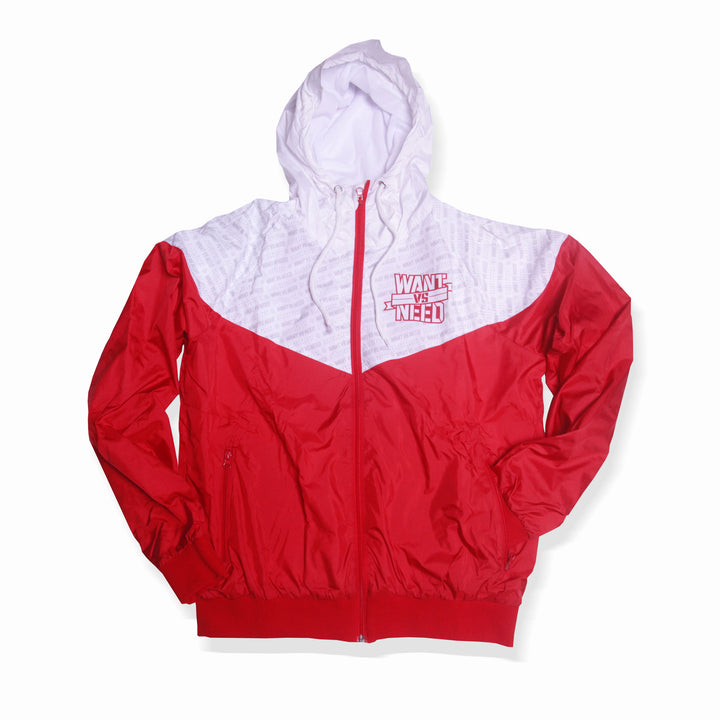 WANT VS NEED WINDBREAKER - RED/WHITE