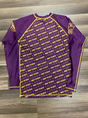 WANT VS NEED RASHGUARD - PURPLE/GOLD
