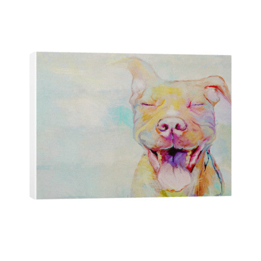 Second Chance: Smiling Pit Bull Art by Christine J Head 16x12 - pupsketches