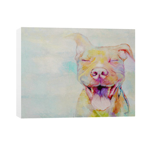 Second Chance: Smiling Pit Bull Art by Christine J Head 30x24 - pupsketches