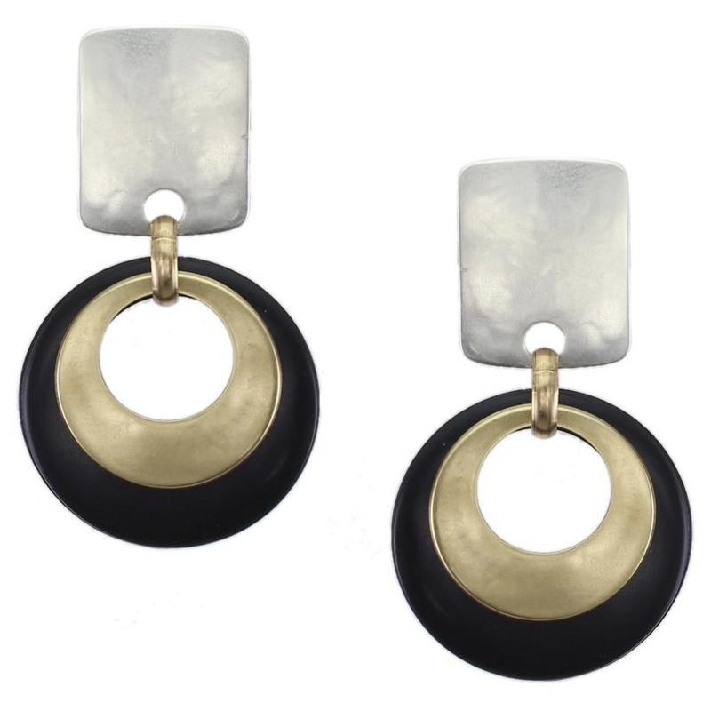 Rounded Rectangle with Layered Cutout Disc in Brass and Black Clip Earring
