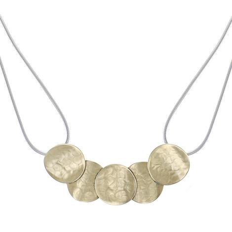 Marjorie Baer Overlapping Curved Discs Necklace