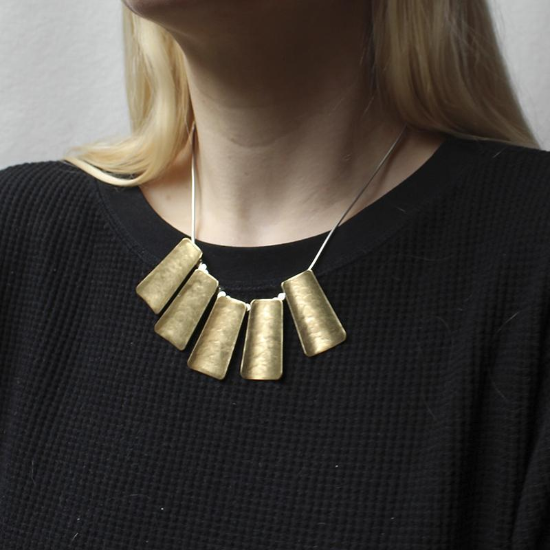 Marjorie Baer Five Long Curved Tapered Rectangles Necklace