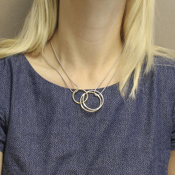 Marjorie Baer Interlocking Hammered Rings Necklace