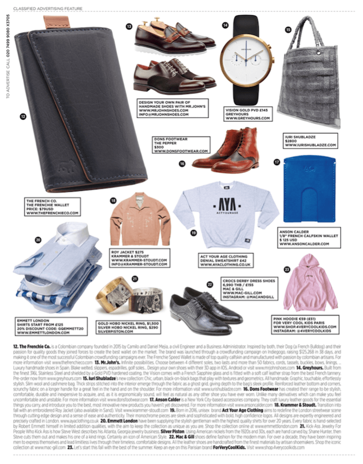 "The 1/8"" Wallet in September British GQ Magazine"