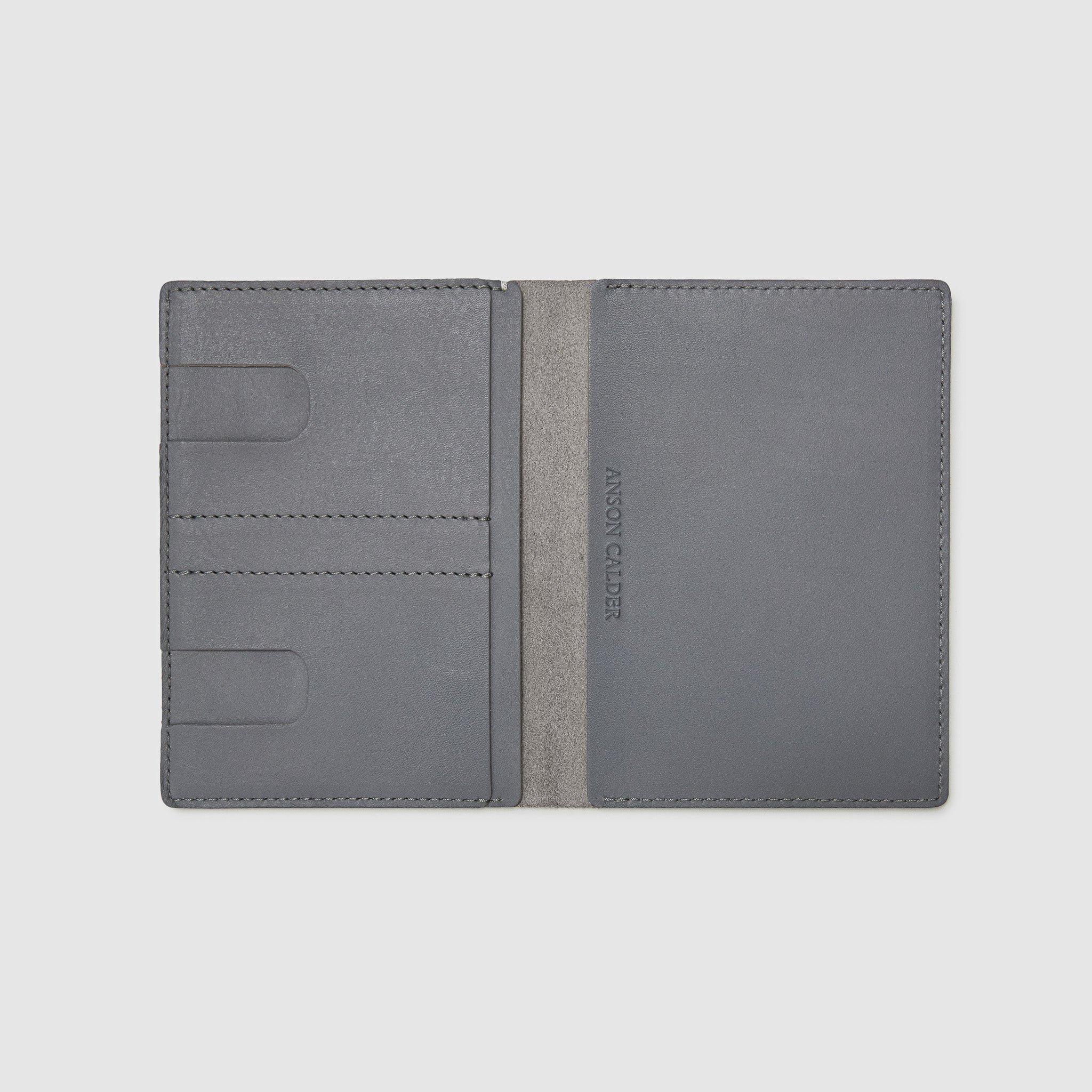 PASSPORT WALLET WALLET ANSON CALDER French Calfskin _steel-grey