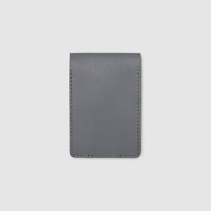 Anson Calder bifold or business card Wallet RFID french calfskin leather _steel-grey