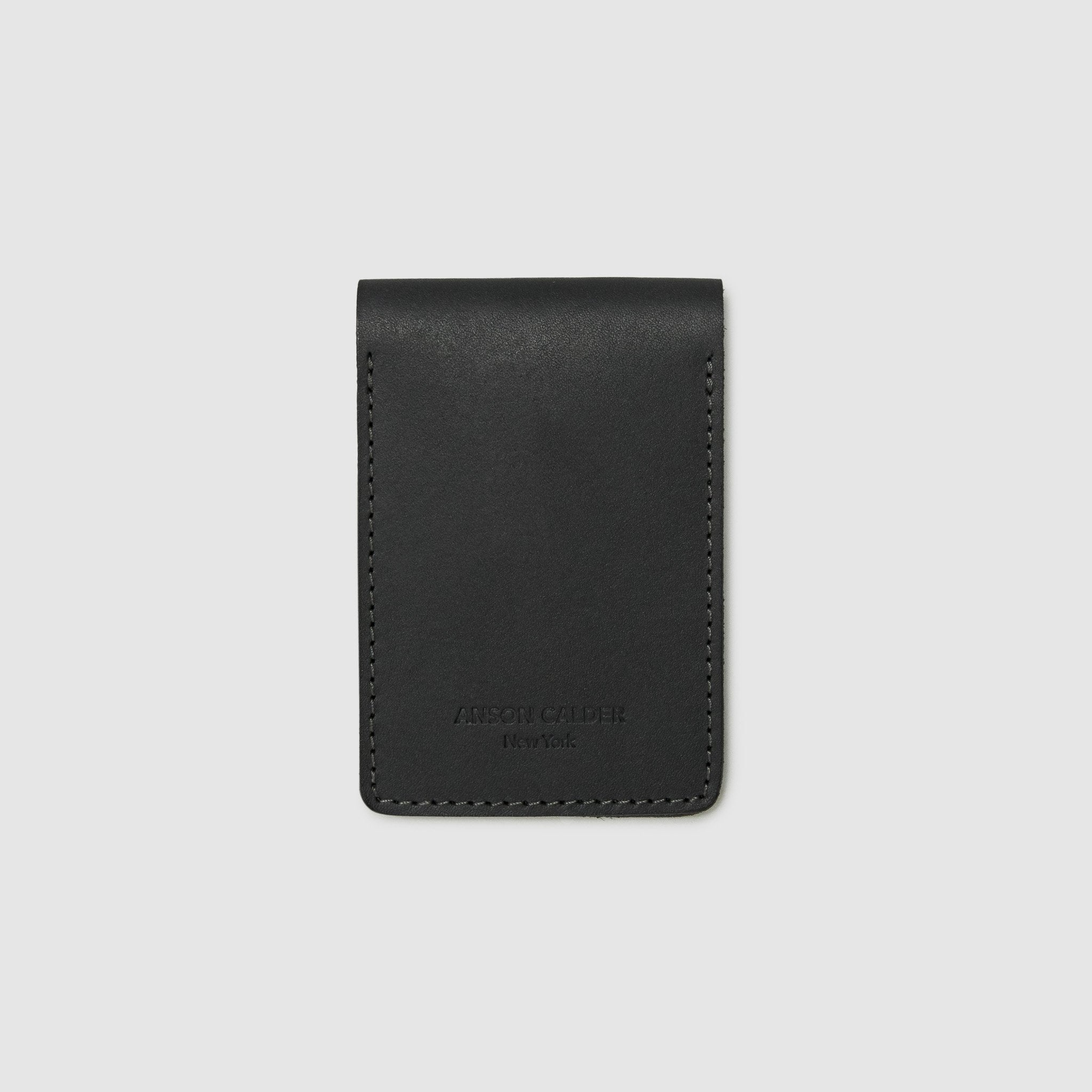 Anson Calder bifold Wallet with coin pocket RFID french calfskin leather _black